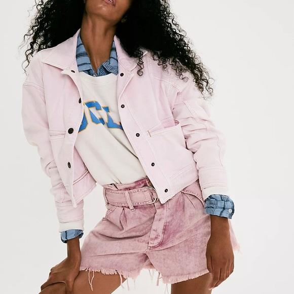 NEW Free People Star Crossed Pink Denim Jacket L